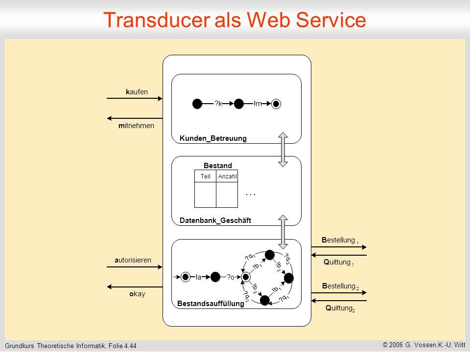 Grundkurs Theoretische Informatik, Folie 4.44 © 2006 G. Vossen,K.-U. Witt Transducer als Web Service