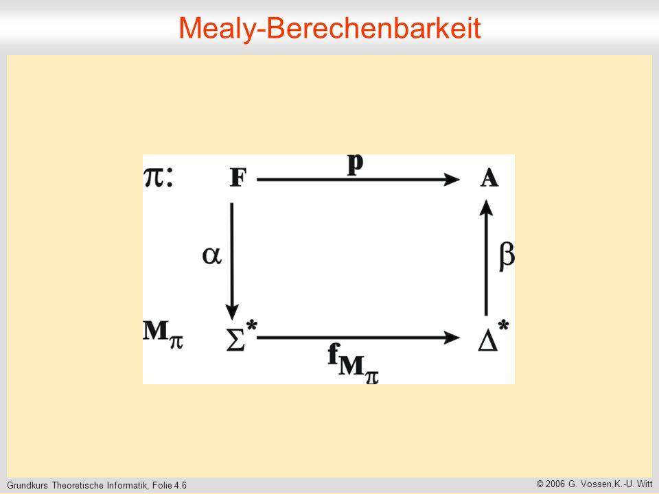 Grundkurs Theoretische Informatik, Folie 4.6 © 2006 G. Vossen,K.-U. Witt Mealy-Berechenbarkeit