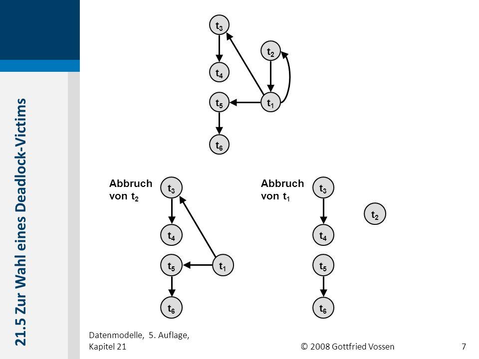 © 2008 Gottfried Vossen t3t3 t4t4 t5t5 t6t6 t1t1 t2t2 t3t3 t4t4 t5t5 t6t6 t1t1 Abbruch von t 2 t3t3 t4t4 t5t5 t6t6 t2t2 Abbruch von t 1 21.5 Zur Wahl eines Deadlock-Victims Datenmodelle, 5.