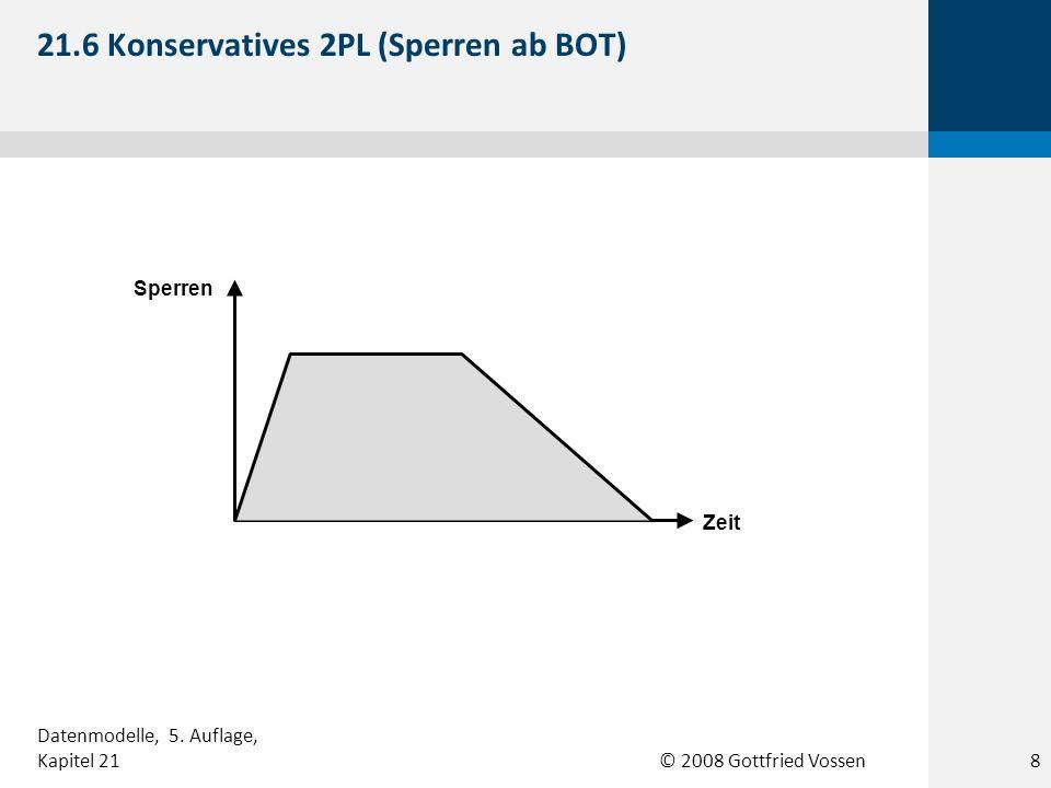 © 2008 Gottfried Vossen Sperren Zeit 21.6 Konservatives 2PL (Sperren ab BOT) 8 Datenmodelle, 5.