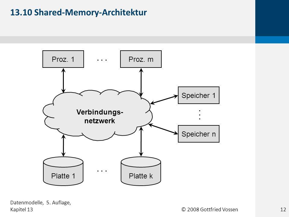 © 2008 Gottfried Vossen Verbindungs- netzwerk Speicher n Speicher 1 Proz. mProz. 1 Platte 1Platte k... 13.10 Shared-Memory-Architektur 12 Datenmodelle
