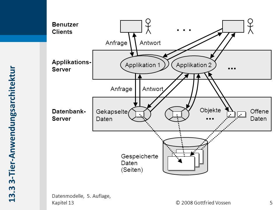 © 2008 Gottfried Vossen ClientServer SQL-Anfrage Ergebnis SQL-Maschine Cursor- Verwaltung Anwendung 13.4 Relationaler Anfrageserver 6 Datenmodelle, 5.