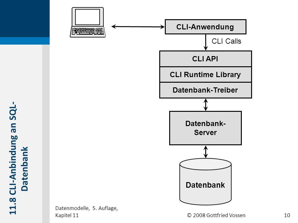 © 2008 Gottfried Vossen Datenbank Datenbank- Server Datenbank-Treiber CLI Runtime Library CLI API CLI-Anwendung CLI Calls 11.8 CLI-Anbindung an SQL- Datenbank Datenmodelle, 5.