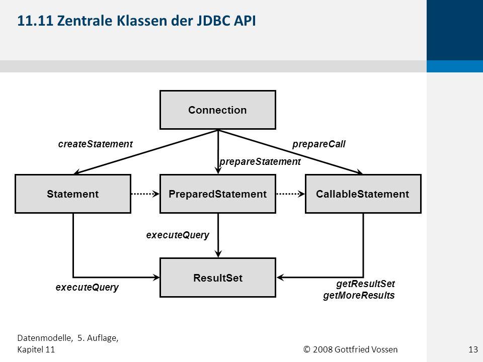 © 2008 Gottfried Vossen Connection Statement PreparedStatement CallableStatement ResultSet createStatementprepareCall prepareStatement executeQuery getResultSet getMoreResults 11.11 Zentrale Klassen der JDBC API 13 Datenmodelle, 5.