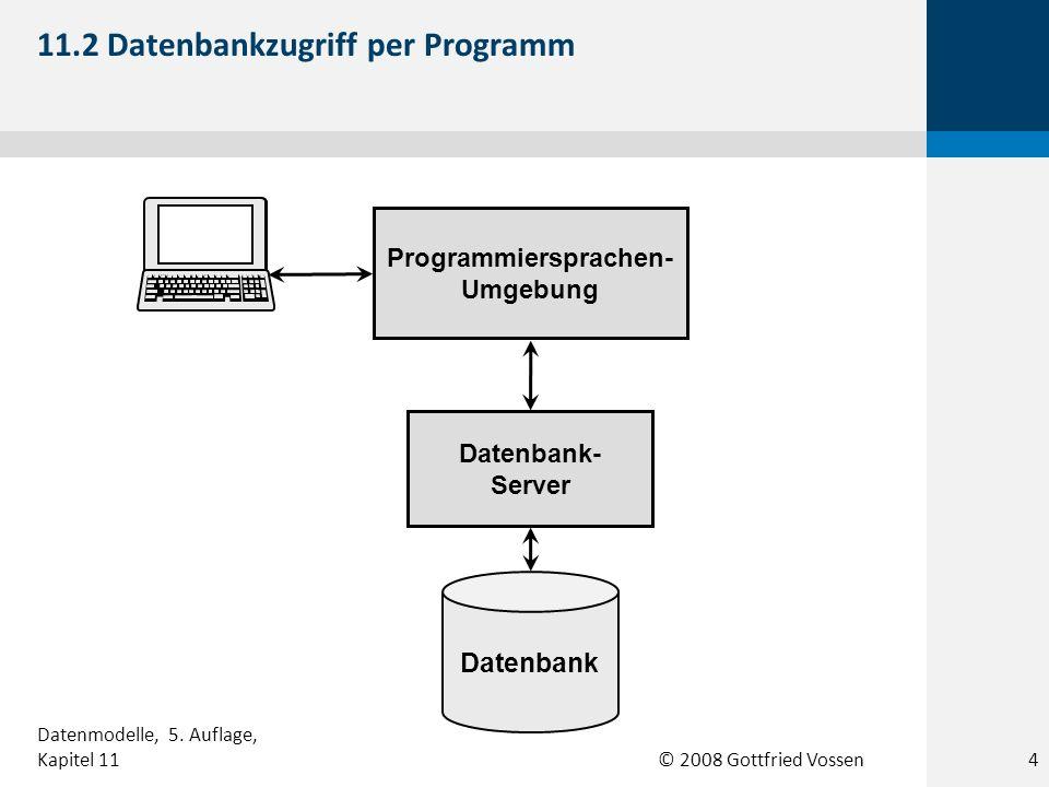 © 2008 Gottfried Vossen Datenbank-Server Applikations- Server Applikations- Server Applikations- Server Applikations- Server Browser Web-Server Browser Internet 11.3 Datenbank-Server im Web 5 Datenmodelle, 5.
