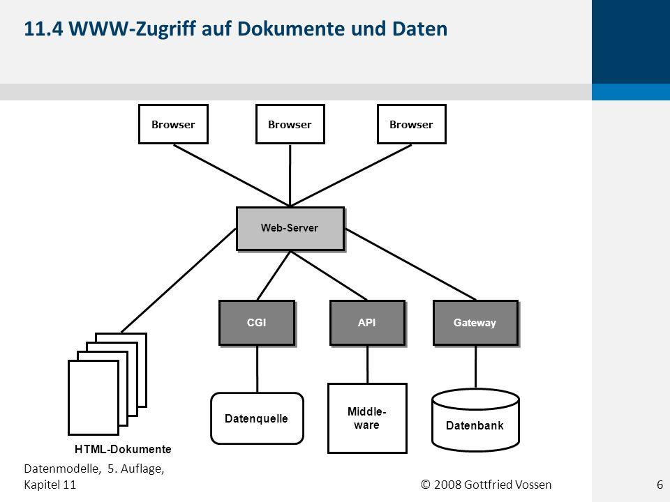 © 2008 Gottfried Vossen Datenbank Gateway Web-Server Browser API CGI Middle- ware Datenquelle HTML-Dokumente 11.4 WWW-Zugriff auf Dokumente und Daten 6 Datenmodelle, 5.