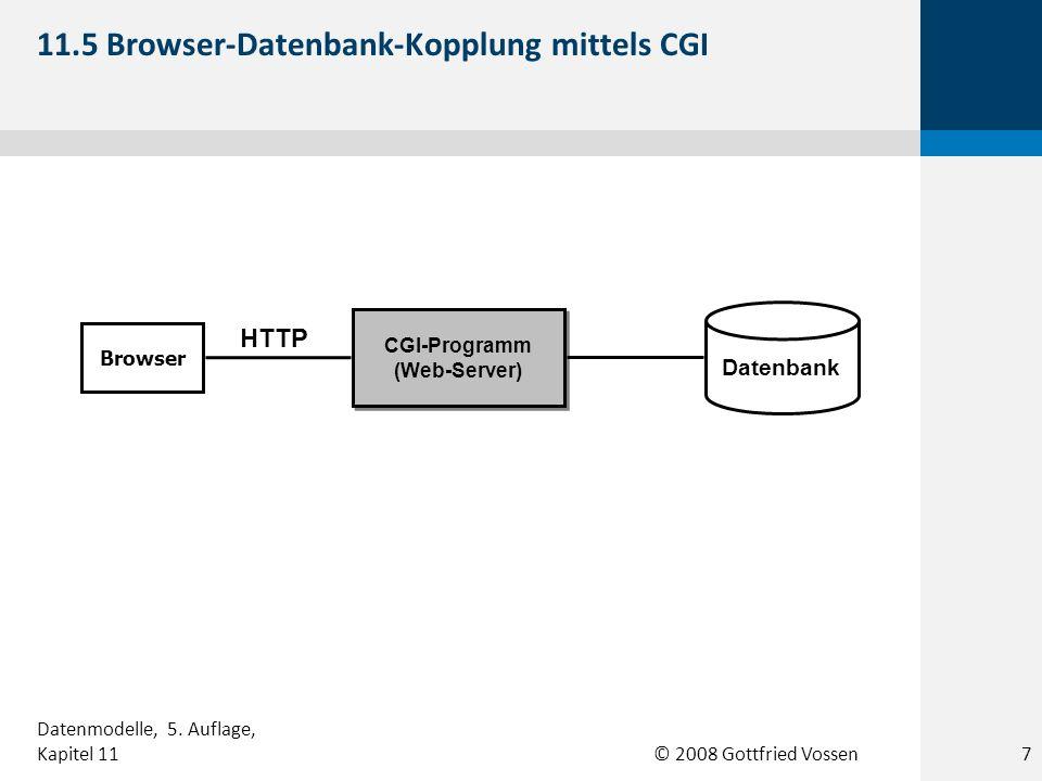 © 2008 Gottfried Vossen Datenbank CGI-Programm (Web-Server) Browser HTTP 11.5 Browser-Datenbank-Kopplung mittels CGI 7 Datenmodelle, 5.