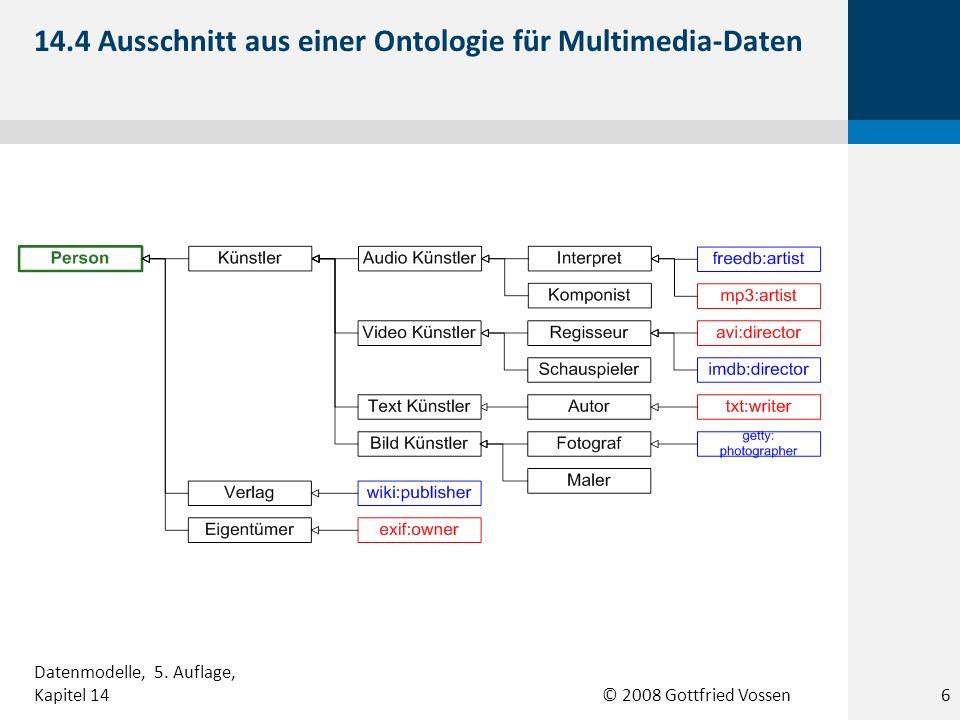 © 2008 Gottfried Vossen 14.4 Ausschnitt aus einer Ontologie für Multimedia-Daten 6 Datenmodelle, 5. Auflage, Kapitel 14