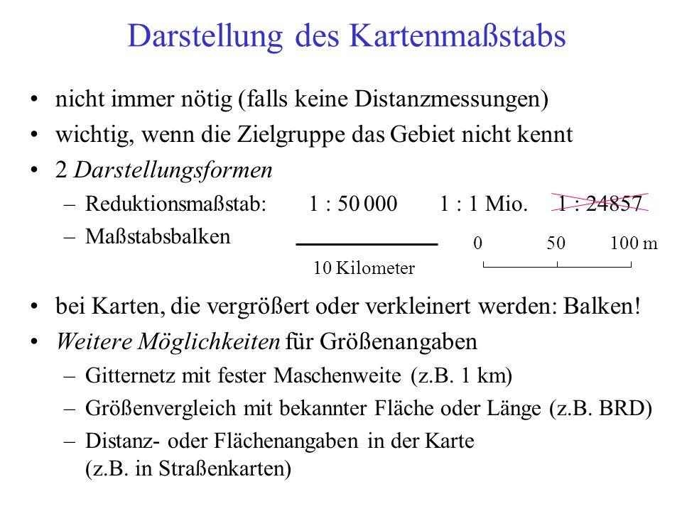 nicht immer nötig (falls keine Distanzmessungen) wichtig, wenn die Zielgruppe das Gebiet nicht kennt 2 Darstellungsformen –Reduktionsmaßstab: 1 : 50 0001 : 1 Mio.