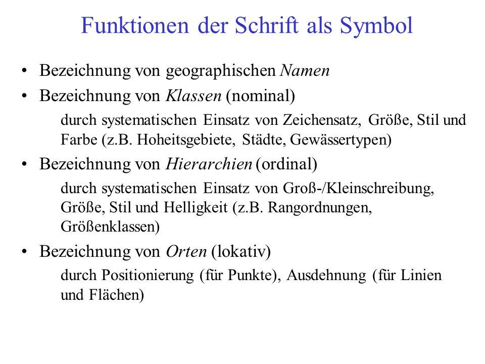 Funktionen der Schrift als Symbol Bezeichnung von geographischen Namen Bezeichnung von Klassen (nominal) durch systematischen Einsatz von Zeichensatz, Größe, Stil und Farbe (z.B.