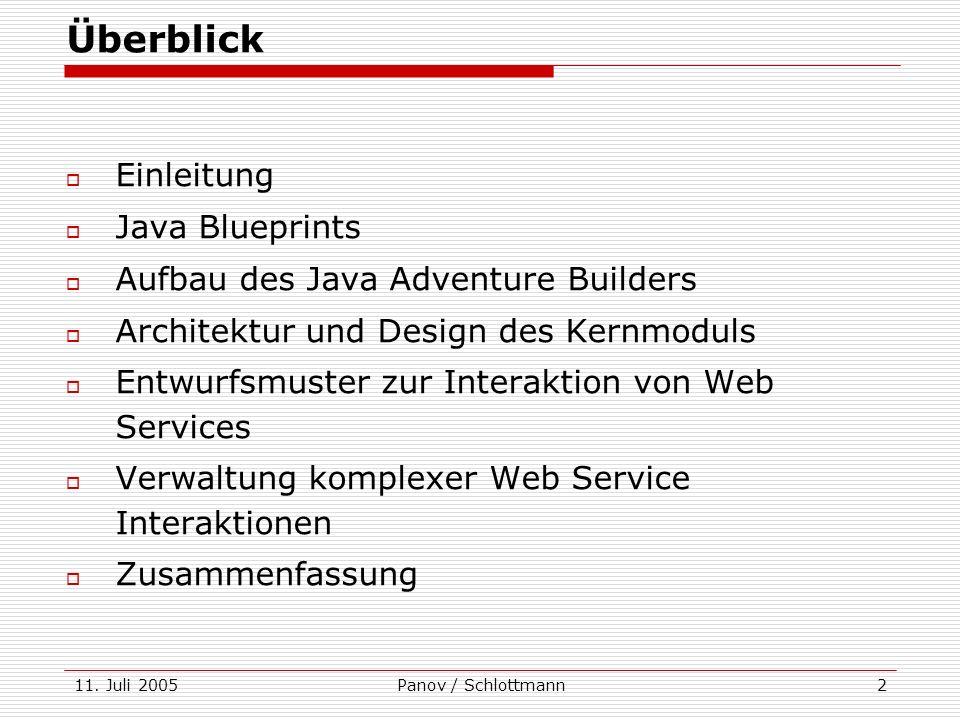 11. Juli 2005Panov / Schlottmann2 Überblick Einleitung Java Blueprints Aufbau des Java Adventure Builders Architektur und Design des Kernmoduls Entwur