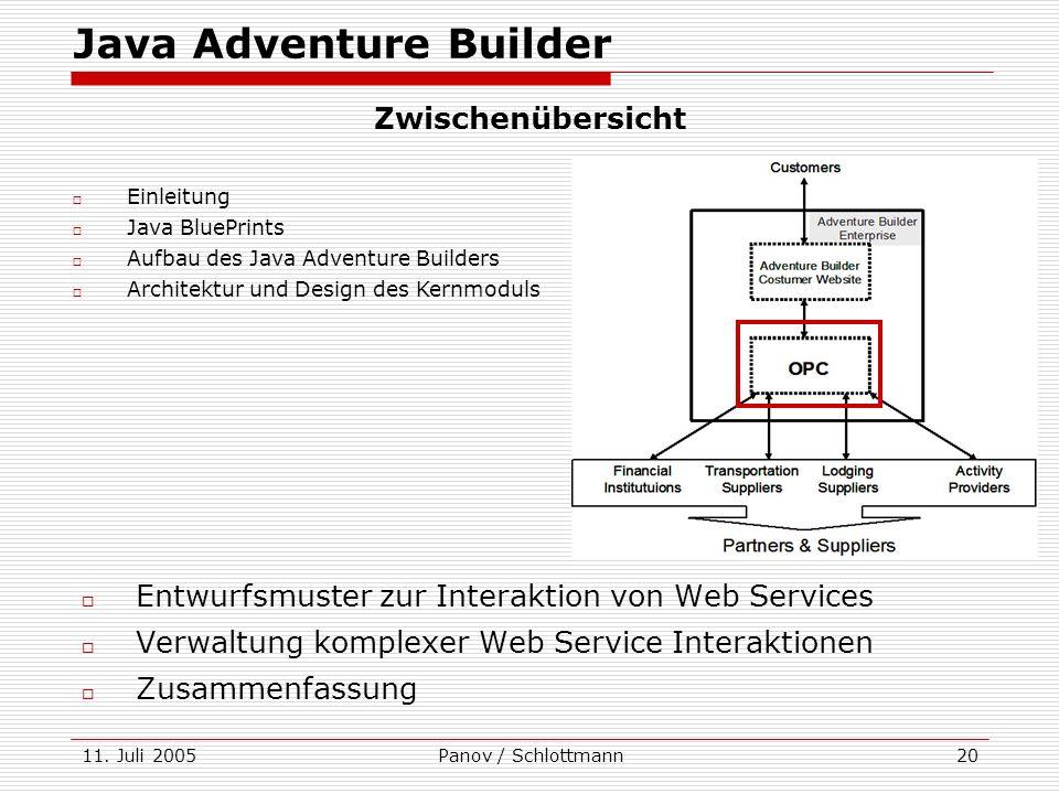 11. Juli 2005Panov / Schlottmann20 Java Adventure Builder Entwurfsmuster zur Interaktion von Web Services Verwaltung komplexer Web Service Interaktion