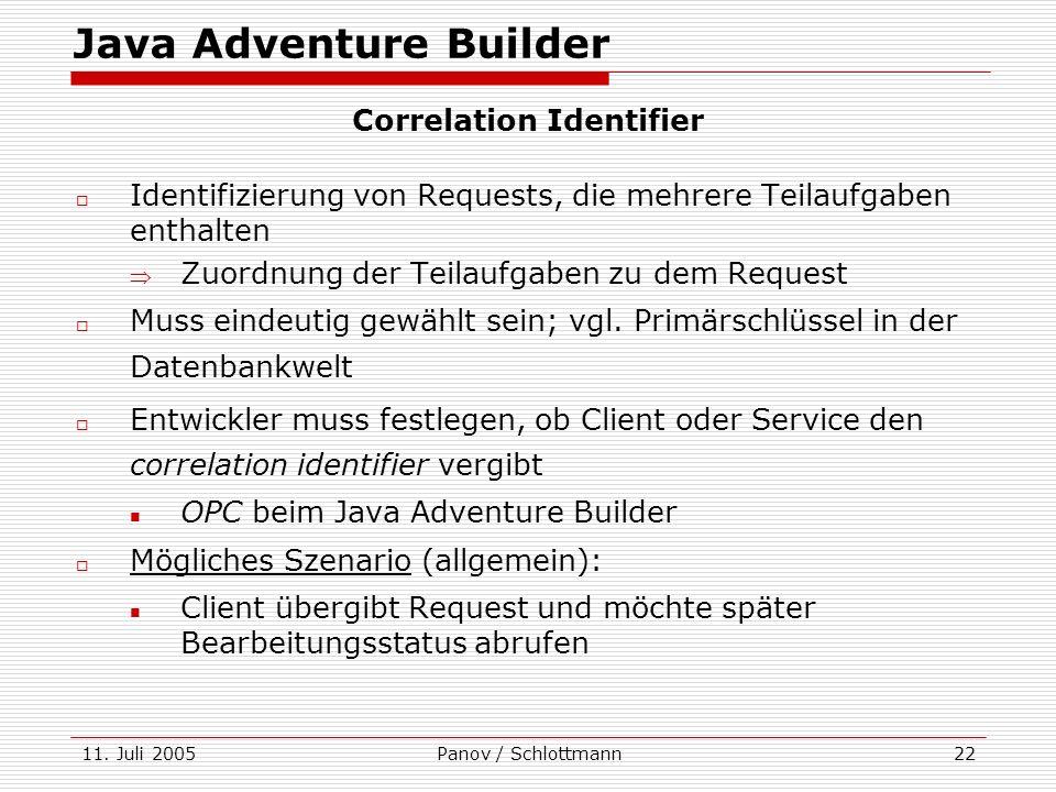 11. Juli 2005Panov / Schlottmann22 Java Adventure Builder Identifizierung von Requests, die mehrere Teilaufgaben enthalten Zuordnung der Teilaufgaben