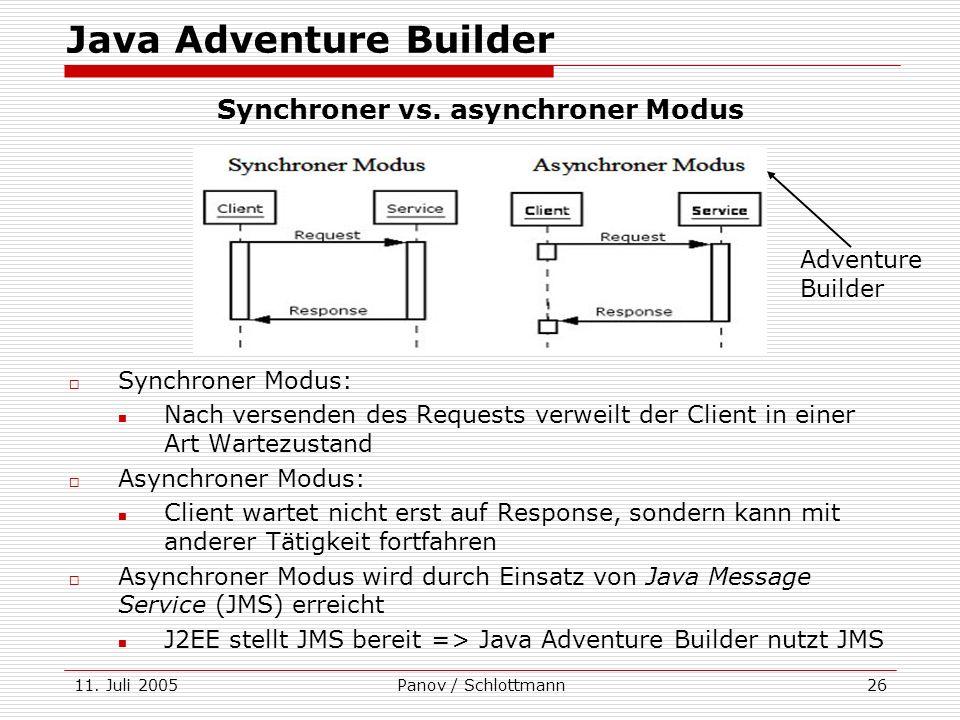 11. Juli 2005Panov / Schlottmann26 Synchroner Modus: Nach versenden des Requests verweilt der Client in einer Art Wartezustand Asynchroner Modus: Clie