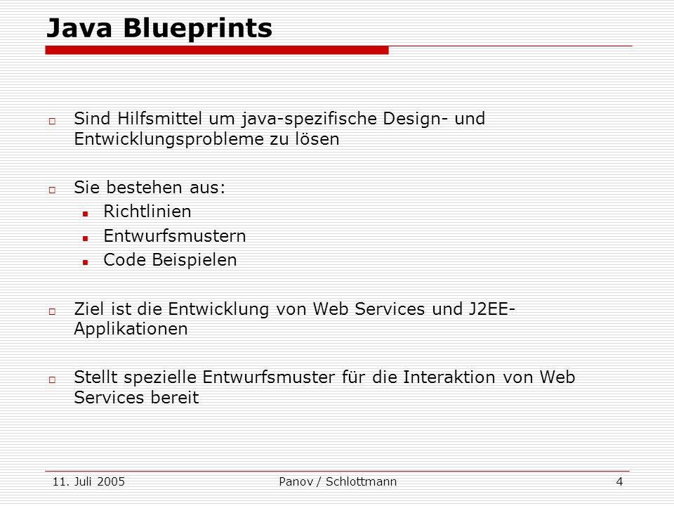 11. Juli 2005Panov / Schlottmann4 Java Blueprints Sind Hilfsmittel um java-spezifische Design- und Entwicklungsprobleme zu lösen Sie bestehen aus: Ric