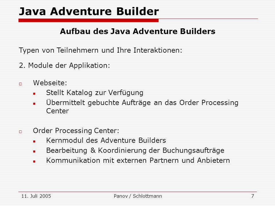 11. Juli 2005Panov / Schlottmann7 Webseite: Stellt Katalog zur Verfügung Übermittelt gebuchte Aufträge an das Order Processing Center Order Processing
