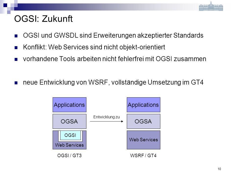 10 Web Services OGSI: Zukunft OGSI und GWSDL sind Erweiterungen akzeptierter Standards Konflikt: Web Services sind nicht objekt-orientiert vorhandene Tools arbeiten nicht fehlerfrei mit OGSI zusammen neue Entwicklung von WSRF, vollständige Umsetzung im GT4 Applications OGSA OGSI Applications OGSA Web Services Entwicklung zu OGSI / GT3WSRF / GT4