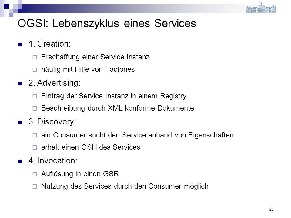 20 OGSI: Lebenszyklus eines Services 1.