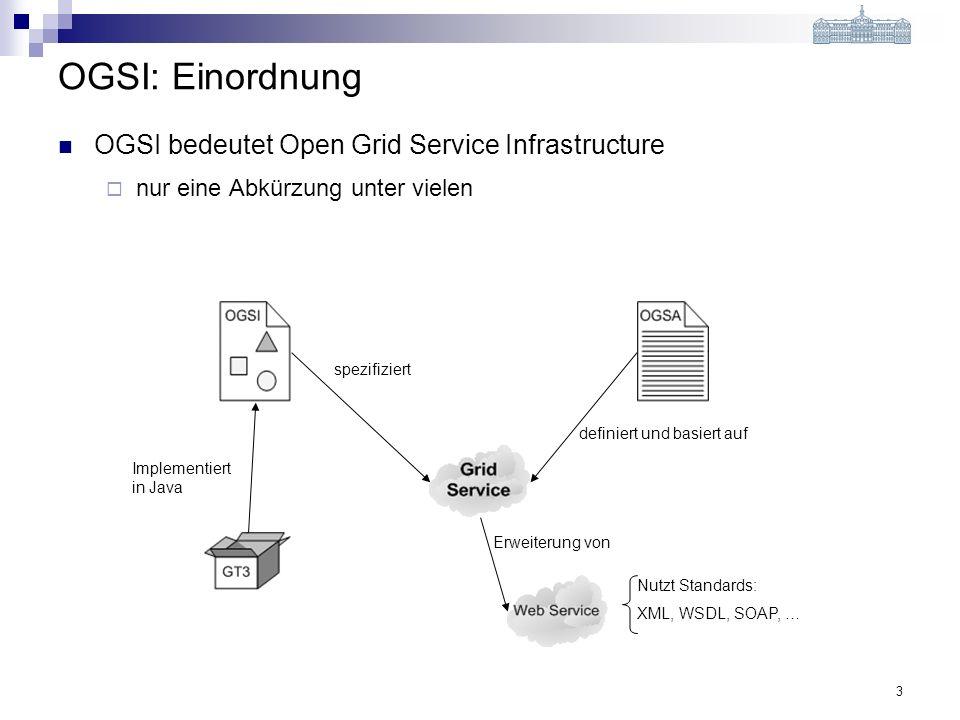 3 OGSI: Einordnung OGSI bedeutet Open Grid Service Infrastructure nur eine Abkürzung unter vielen Implementiert in Java spezifiziert Erweiterung von definiert und basiert auf Nutzt Standards: XML, WSDL, SOAP, …