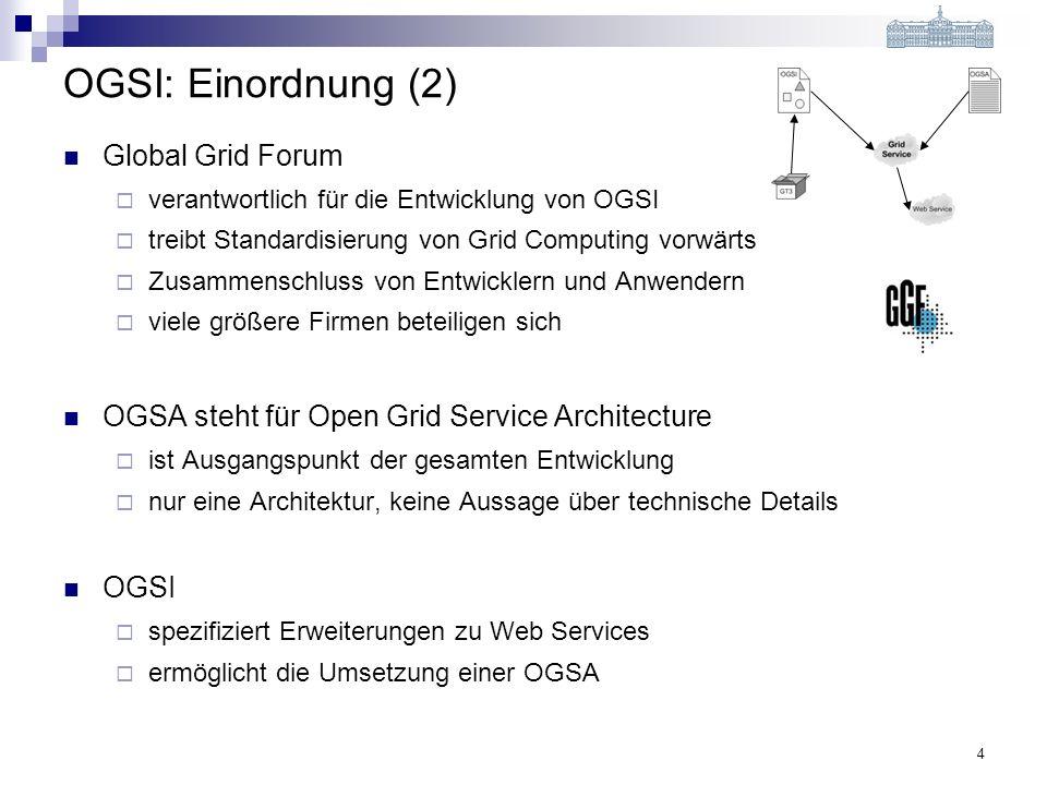 4 OGSI: Einordnung (2) Global Grid Forum verantwortlich für die Entwicklung von OGSI treibt Standardisierung von Grid Computing vorwärts Zusammenschluss von Entwicklern und Anwendern viele größere Firmen beteiligen sich OGSA steht für Open Grid Service Architecture ist Ausgangspunkt der gesamten Entwicklung nur eine Architektur, keine Aussage über technische Details OGSI spezifiziert Erweiterungen zu Web Services ermöglicht die Umsetzung einer OGSA