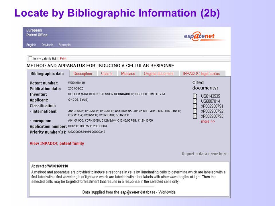 Suche mit bibliographischen Angaben: Locate by Bibliographic Information (2a) Patent Reference