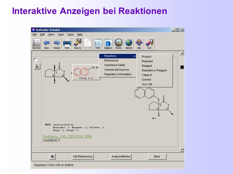 Weitere Ansichtsmöglichkeiten bei den Substanztreffern Lieferanten dieser Verbindung Reaktionen aus der Datenbank CASREACT Regulatorische Daten (EINEC