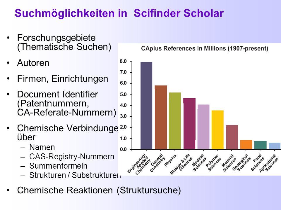 Suchdiagramm für die Datenbanken in SciFinder Scholar