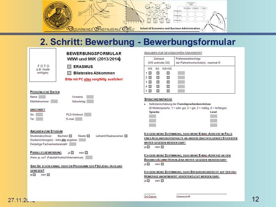 2. Schritt: Bewerbung - Bewerbungsformular 27.11.2012 12