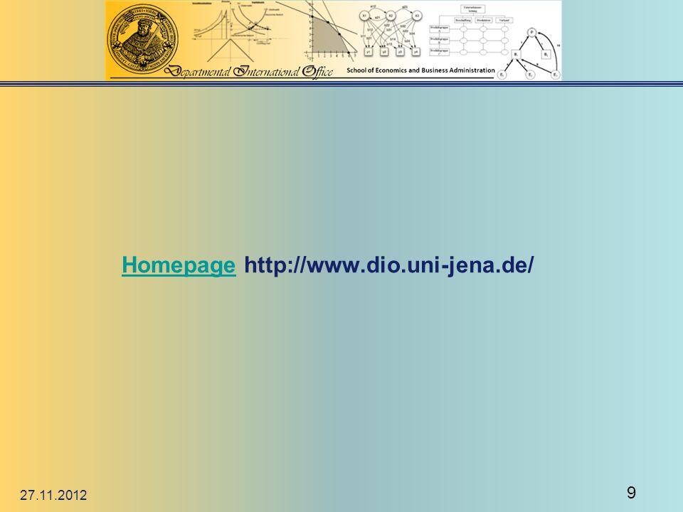 HomepageHomepage http://www.dio.uni-jena.de/ 27.11.2012 9