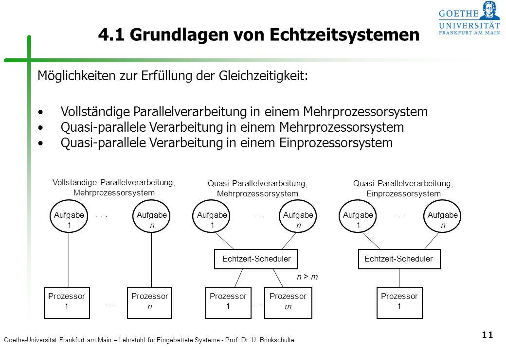 Goethe-Universität Frankfurt am Main – Lehrstuhl für Eingebettete Systeme - Prof. Dr. U. Brinkschulte 11 4.1 Grundlagen von Echtzeitsystemen... Vollst