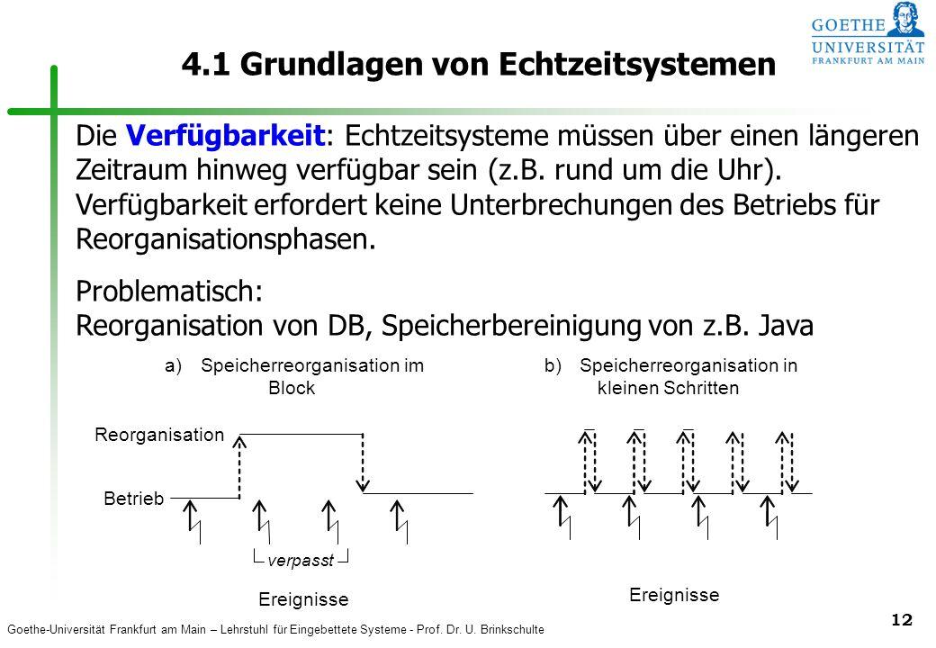 Goethe-Universität Frankfurt am Main – Lehrstuhl für Eingebettete Systeme - Prof. Dr. U. Brinkschulte 12 4.1 Grundlagen von Echtzeitsystemen Ereigniss