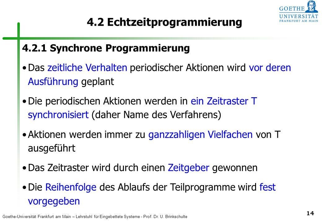 Goethe-Universität Frankfurt am Main – Lehrstuhl für Eingebettete Systeme - Prof. Dr. U. Brinkschulte 14 4.2 Echtzeitprogrammierung 4.2.1 Synchrone Pr