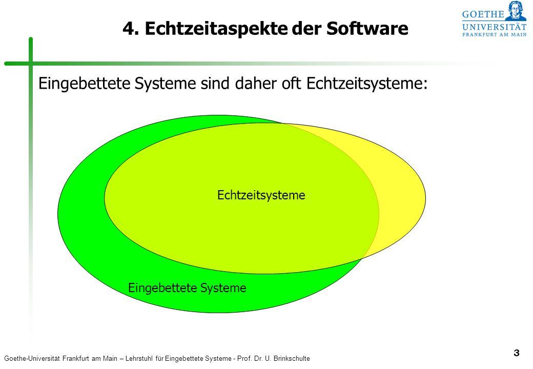 Goethe-Universität Frankfurt am Main – Lehrstuhl für Eingebettete Systeme - Prof. Dr. U. Brinkschulte 3 4. Echtzeitaspekte der Software Eingebettete S
