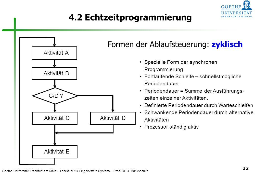 Goethe-Universität Frankfurt am Main – Lehrstuhl für Eingebettete Systeme - Prof. Dr. U. Brinkschulte 32 4.2 Echtzeitprogrammierung Aktivität A B C E