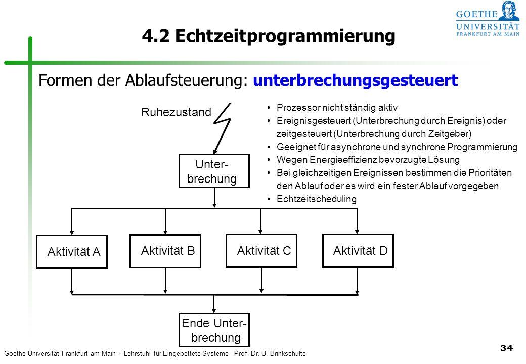 Goethe-Universität Frankfurt am Main – Lehrstuhl für Eingebettete Systeme - Prof. Dr. U. Brinkschulte 34 4.2 Echtzeitprogrammierung Aktivität A B C D