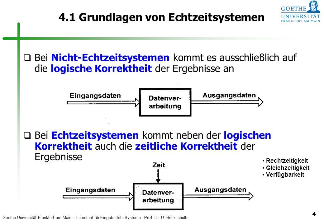 Goethe-Universität Frankfurt am Main – Lehrstuhl für Eingebettete Systeme - Prof. Dr. U. Brinkschulte 4 4.1 Grundlagen von Echtzeitsystemen q Bei Nich