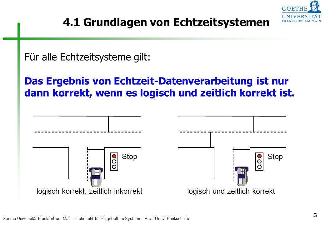 Goethe-Universität Frankfurt am Main – Lehrstuhl für Eingebettete Systeme - Prof. Dr. U. Brinkschulte 5 4.1 Grundlagen von Echtzeitsystemen Stop logis