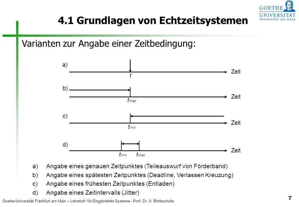 Goethe-Universität Frankfurt am Main – Lehrstuhl für Eingebettete Systeme - Prof. Dr. U. Brinkschulte 7 4.1 Grundlagen von Echtzeitsystemen Zeit t t m