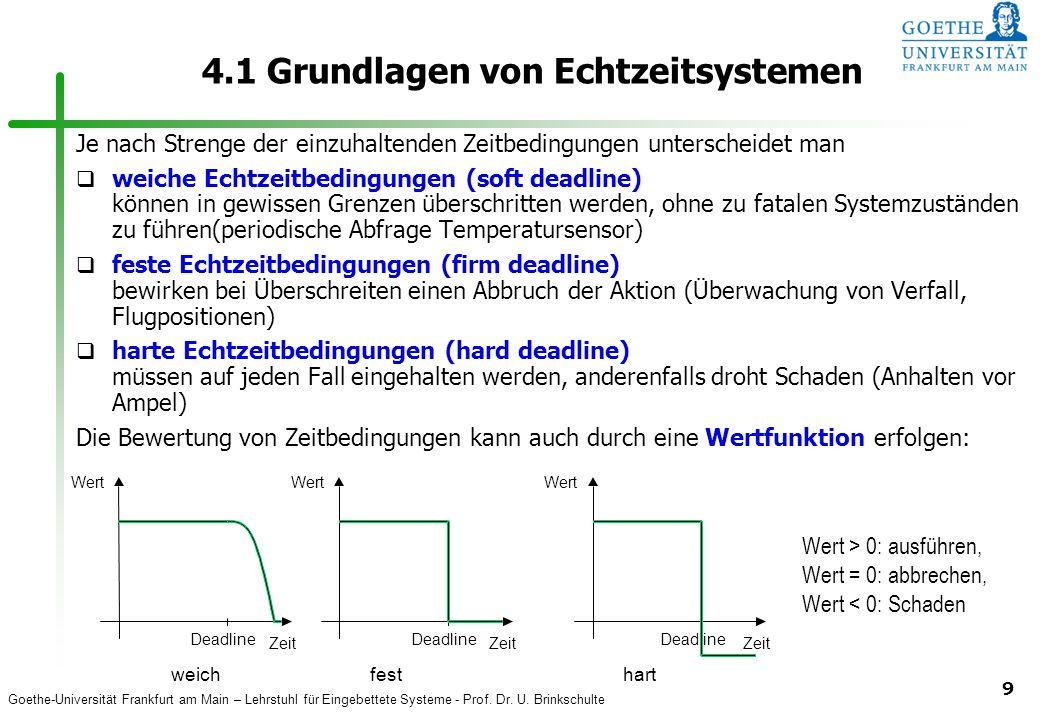 Goethe-Universität Frankfurt am Main – Lehrstuhl für Eingebettete Systeme - Prof. Dr. U. Brinkschulte 9 4.1 Grundlagen von Echtzeitsystemen Je nach St