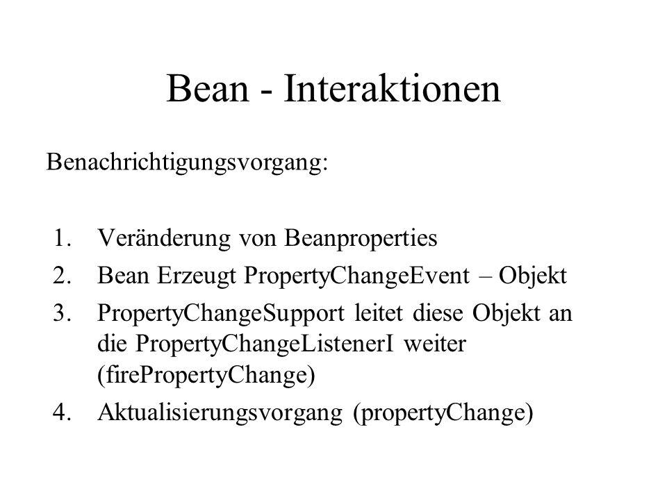 Bean - Interaktionen 1.Veränderung von Beanproperties 2.Bean Erzeugt PropertyChangeEvent – Objekt 3.PropertyChangeSupport leitet diese Objekt an die PropertyChangeListenerI weiter (firePropertyChange) 4.Aktualisierungsvorgang (propertyChange) Benachrichtigungsvorgang: