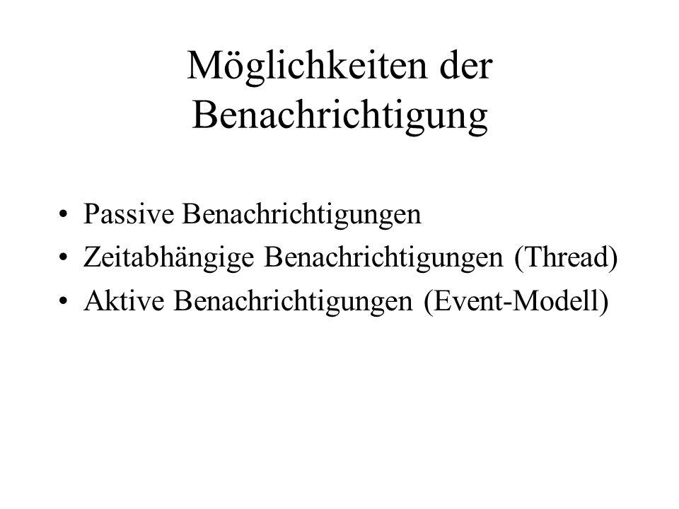 Möglichkeiten der Benachrichtigung Passive Benachrichtigungen Zeitabhängige Benachrichtigungen (Thread) Aktive Benachrichtigungen (Event-Modell)