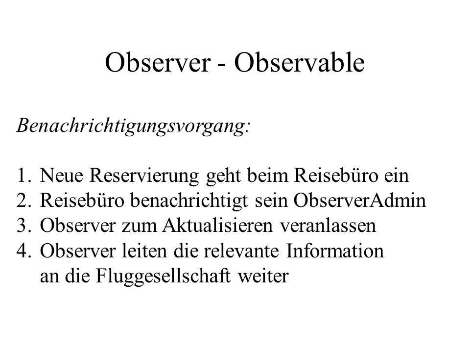 Observer - Observable Benachrichtigungsvorgang: 1.Neue Reservierung geht beim Reisebüro ein 2.Reisebüro benachrichtigt sein ObserverAdmin 3.Observer zum Aktualisieren veranlassen 4.Observer leiten die relevante Information an die Fluggesellschaft weiter