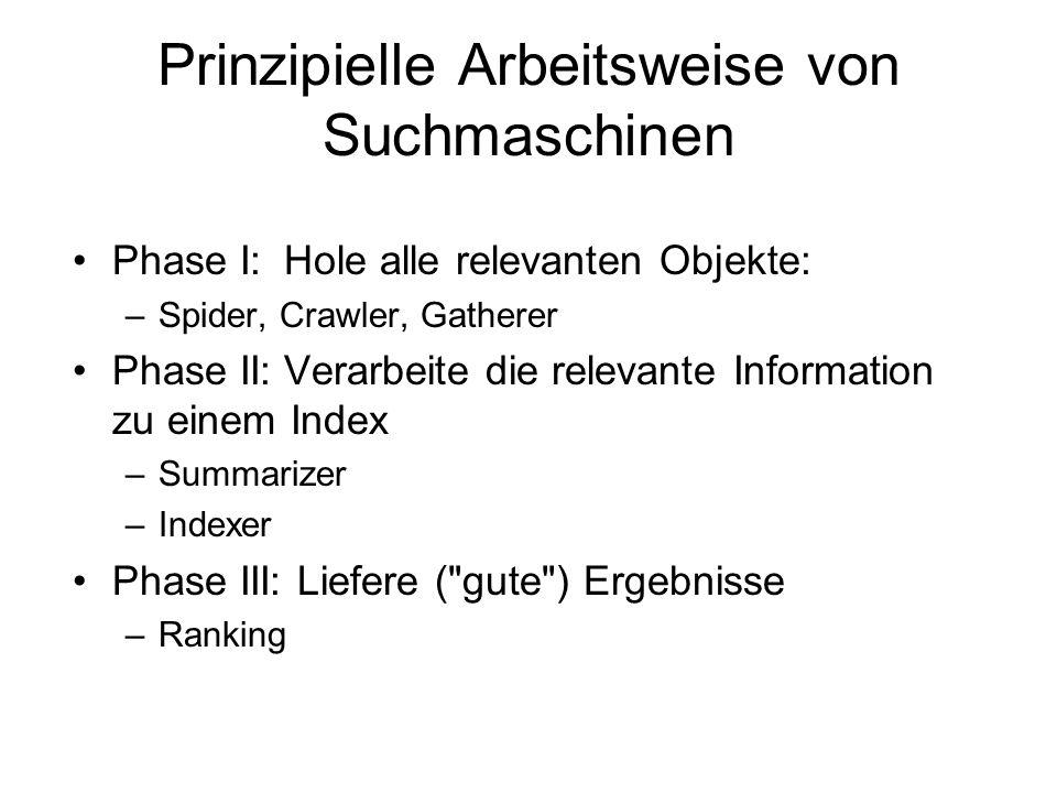 Prinzipielle Arbeitsweise von Suchmaschinen Phase I: Hole alle relevanten Objekte: –Spider, Crawler, Gatherer Phase II:Verarbeite die relevante Inform