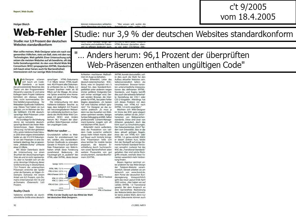 c't 9/2005 vom 18.4.2005 Studie: nur 3,9 % der deutschen Websites standardkonform