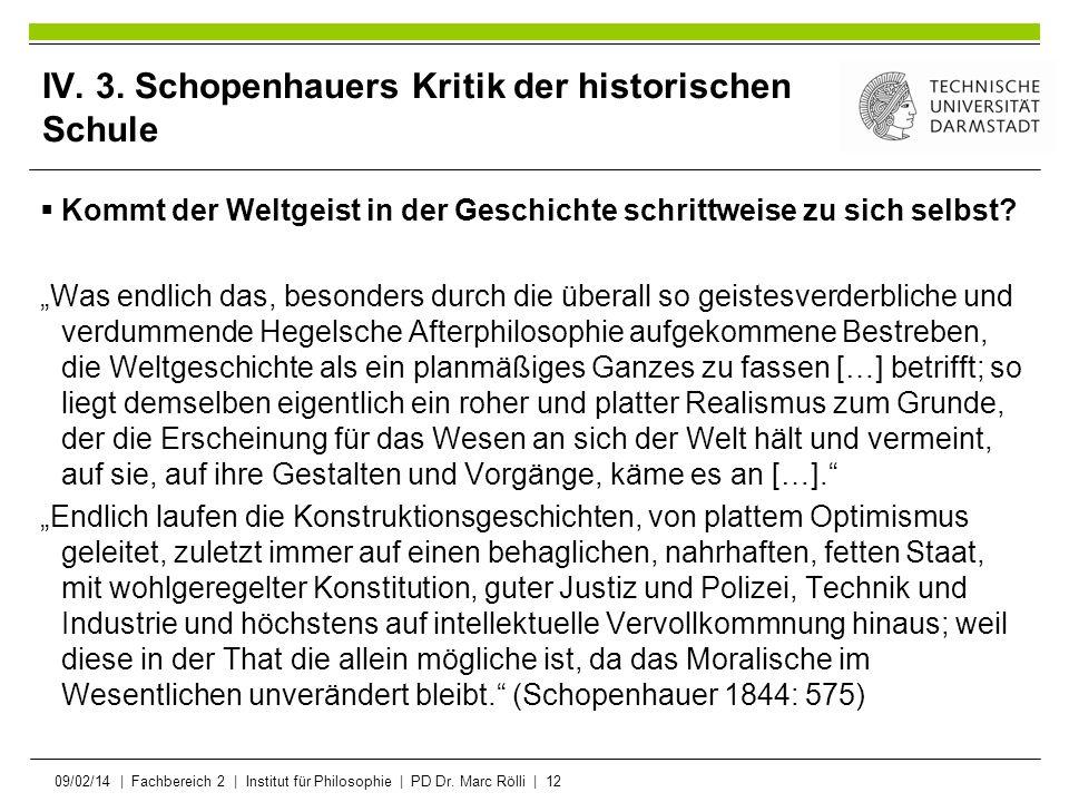 09/02/14   Fachbereich 2   Institut für Philosophie   PD Dr. Marc Rölli   12 IV. 3. Schopenhauers Kritik der historischen Schule Kommt der Weltgeist i