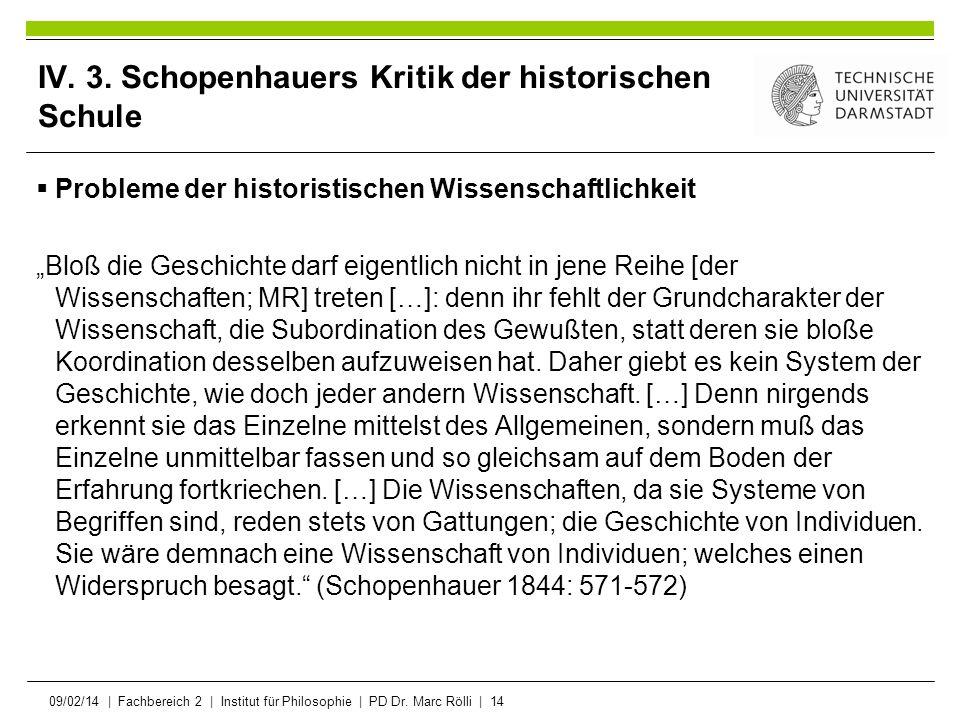 09/02/14   Fachbereich 2   Institut für Philosophie   PD Dr. Marc Rölli   14 IV. 3. Schopenhauers Kritik der historischen Schule Probleme der historis