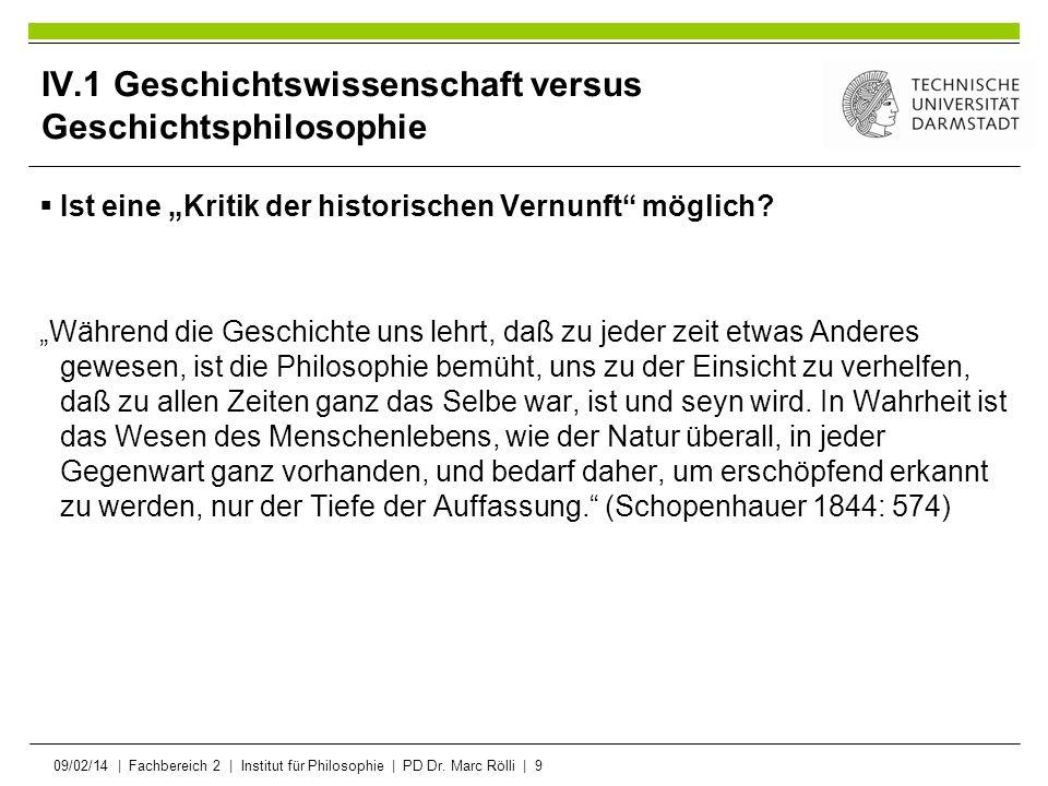 09/02/14   Fachbereich 2   Institut für Philosophie   PD Dr. Marc Rölli   9 IV.1 Geschichtswissenschaft versus Geschichtsphilosophie Ist eine Kritik d