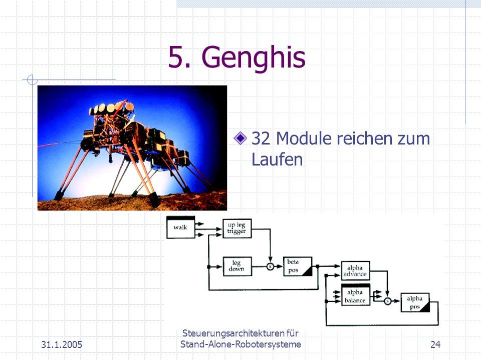 31.1.2005 Steuerungsarchitekturen für Stand-Alone-Robotersysteme24 5. Genghis 32 Module reichen zum Laufen