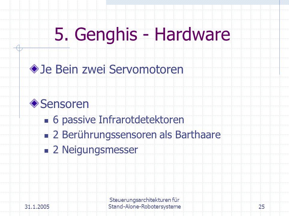 31.1.2005 Steuerungsarchitekturen für Stand-Alone-Robotersysteme25 5. Genghis - Hardware Je Bein zwei Servomotoren Sensoren 6 passive Infrarotdetektor