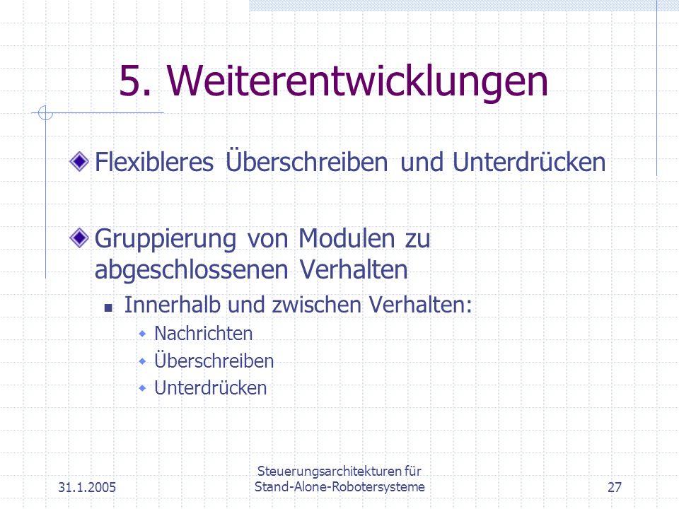 31.1.2005 Steuerungsarchitekturen für Stand-Alone-Robotersysteme27 5. Weiterentwicklungen Flexibleres Überschreiben und Unterdrücken Gruppierung von M
